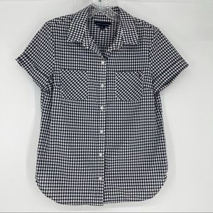 Tommy Hilfiger Navy White Checked Blouse Size S/P